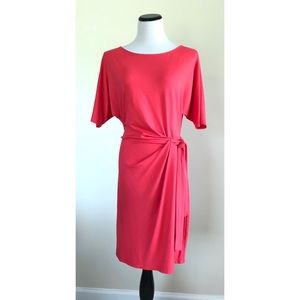 Ann Taylor Ruched Jersey Dress ~ Coral ~ Sz. Large